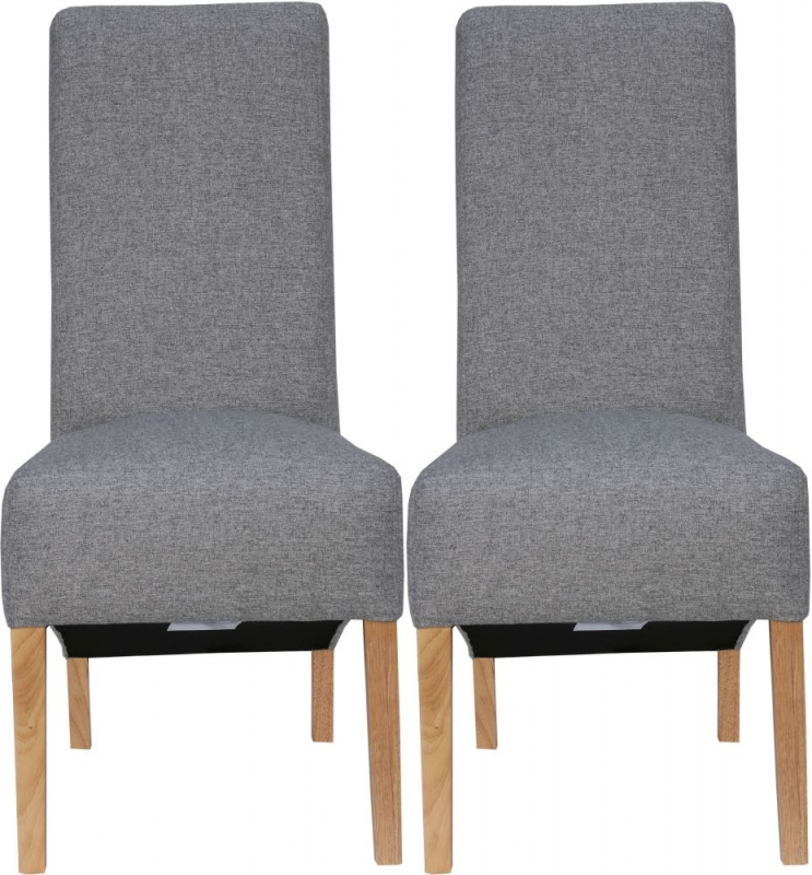 Light Grey Fabric Scroll Back Fabric Chair (Pair)