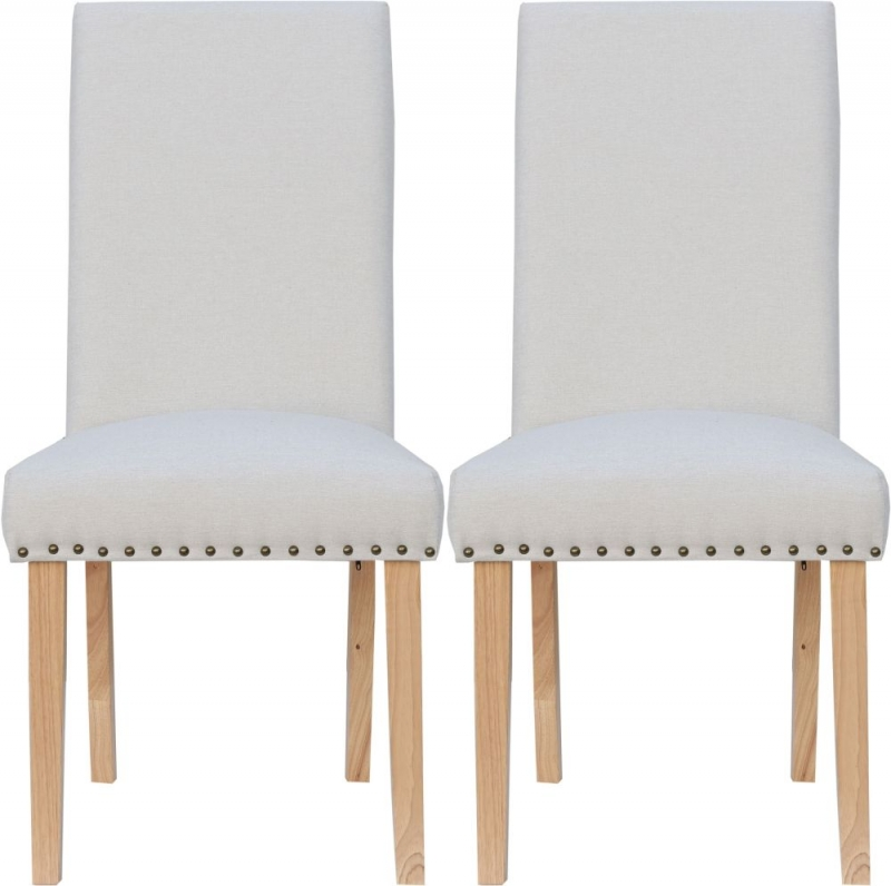 Straight Back Natural Fabric Chair (Pair)