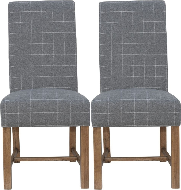 Clearance - Hoxie Check Grey Fabric Dining Chair (Pair) - New - E-697