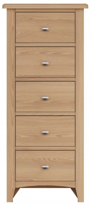 Eva Light Oak 5 Drawer Tall Chest