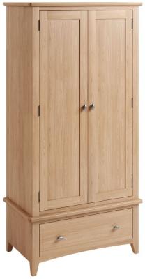 Eva Light Oak 2 Door 1 Drawer Wardrobe