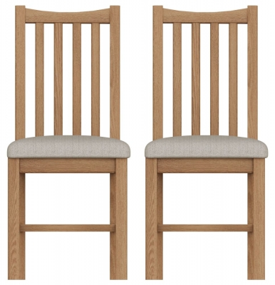 Eva Light Oak Slatted Back Dining Chair (Pair)