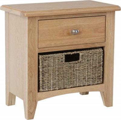 Eva Light Oak 1 Drawer 1 Basket Unit