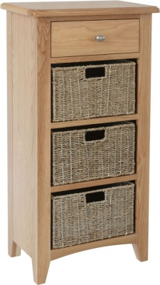 Eva Light Oak 1 Drawer 3 Basket Unit