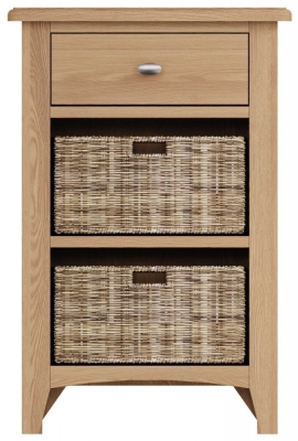 Eva Light Oak 1 Drawer 2 Basket Unit