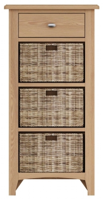 Eva Light Oak 1 Drawer 3 Basket Unit