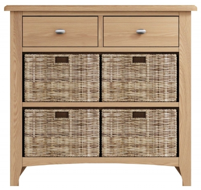 Eva Light Oak 2 Drawer 4 Basket Unit
