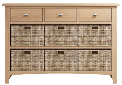 Eva Light Oak 3 Drawer 6 Basket Unit