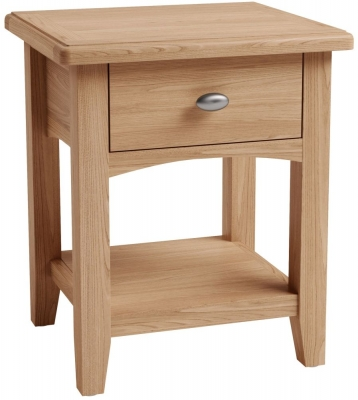 Eva Light Oak 1 Drawer Lamp Table