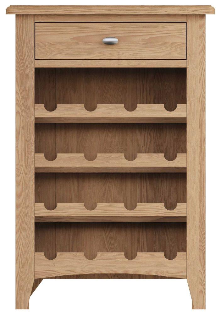 Eva Light Oak 1 Drawer Wine Cabinet