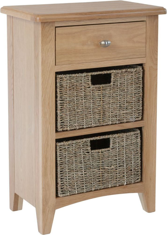 Eva Light Oak 1 Drawer 2 Basket Unit