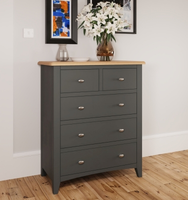 Graceton Oak and Grey Painted 2+3 Drawer Chest