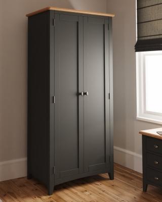 Graceton Oak and Grey Painted 2 Door Wardrobe