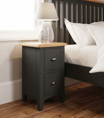 Graceton Oak and Grey Painted 2 Drawer Bedside Cabinet