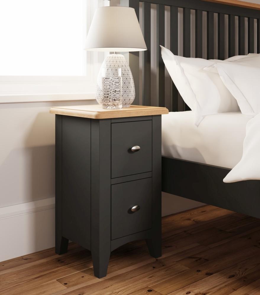 Graceton Oak and Grey Painted 2 Drawer Bedside Cabinet