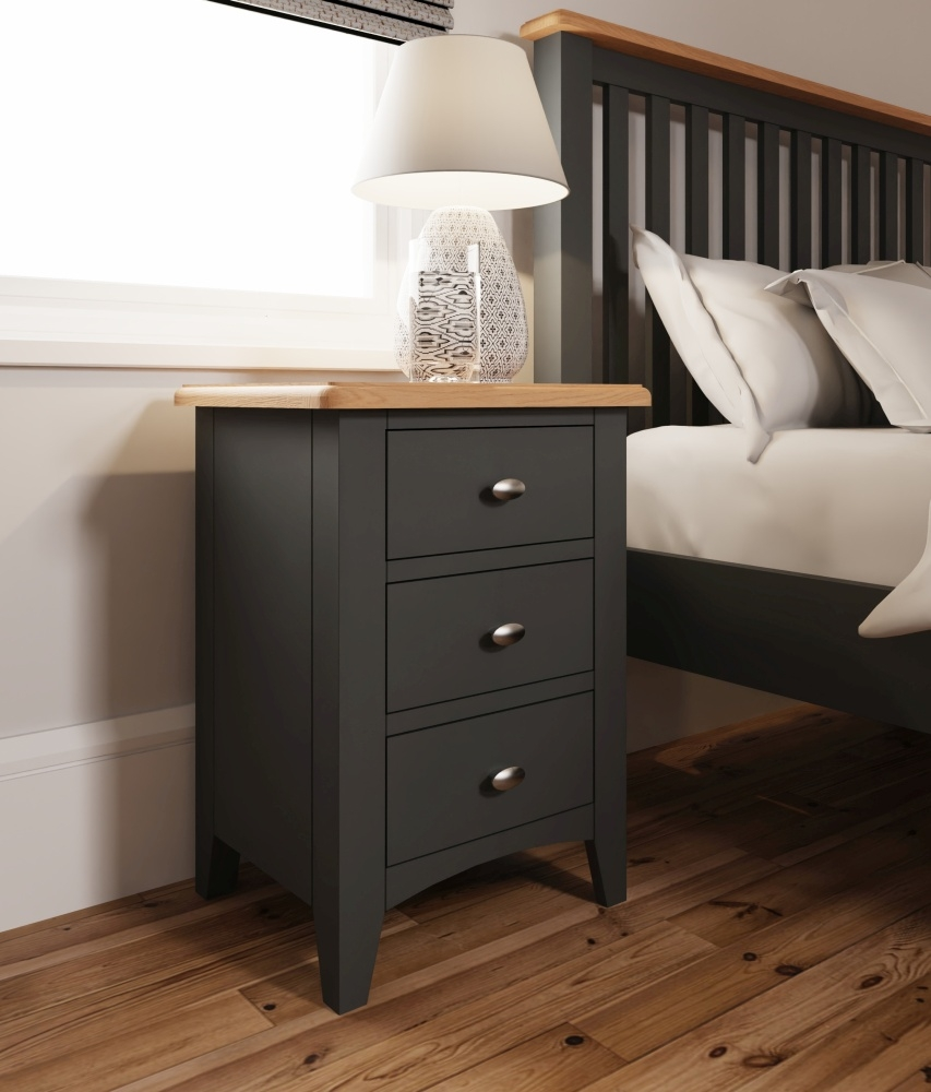 Graceton Oak and Grey Painted 3 Drawer Bedside Cabinet