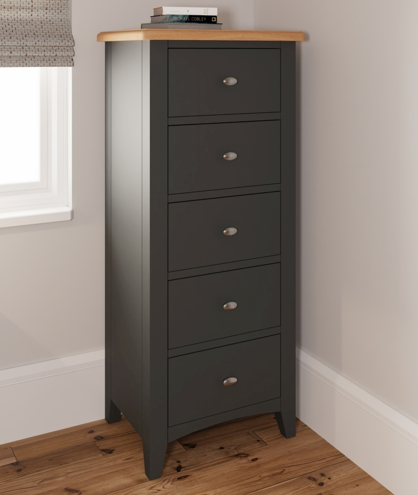 Graceton Oak and Grey Painted 5 Drawer Narrow Chest