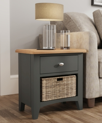 Graceton Oak and Grey Painted 1 Drawer 1 Basket Unit