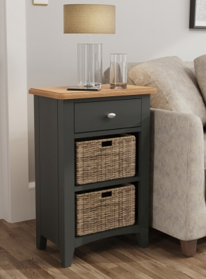 Graceton Oak and Grey Painted 1 Drawer 2 Basket Unit