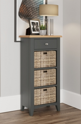 Graceton Oak and Grey Painted 1 Drawer 3 Basket Unit