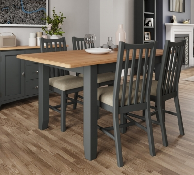 Graceton Oak and Grey Painted 160cm-200cm Extending Dining Table