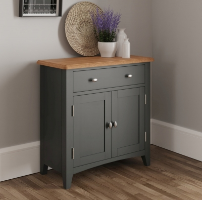 Graceton Oak and Grey Painted 2 Door 1 Drawer Sideboard