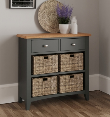 Graceton Oak and Grey Painted 2 Drawer 4 Basket Unit