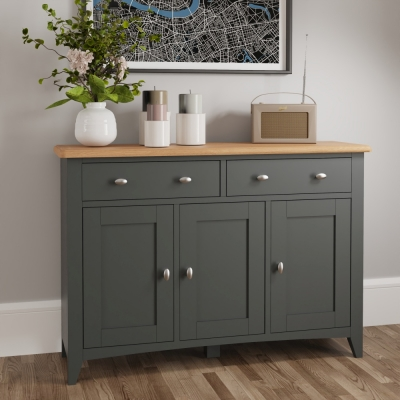 Graceton Oak and Grey Painted 3 Door 2 Drawer Sideboard