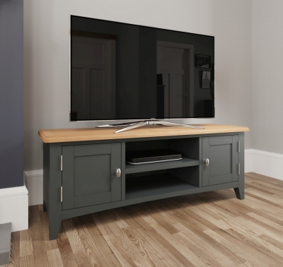 Graceton Oak and Grey Painted Large TV Unit
