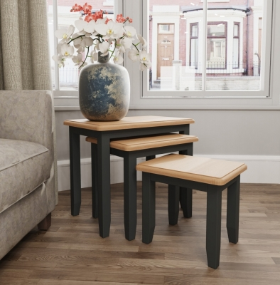 Graceton Oak and Grey Painted Nest of 3 Tables
