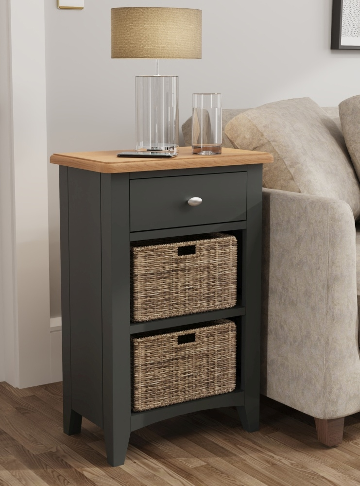 Graceton Oak and Grey Painted 1 Drawer 2 Basket Unit