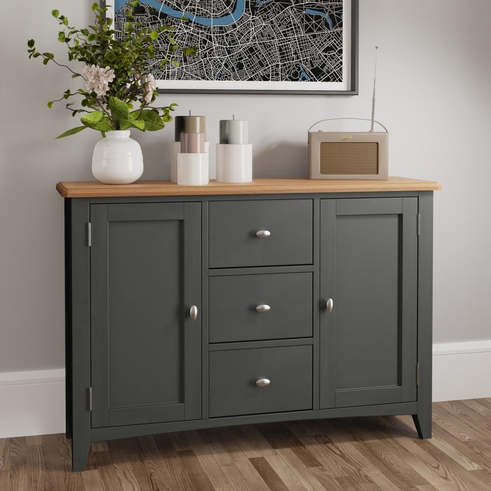 Graceton Oak and Grey Painted 2 Door 3 Drawer Sideboard