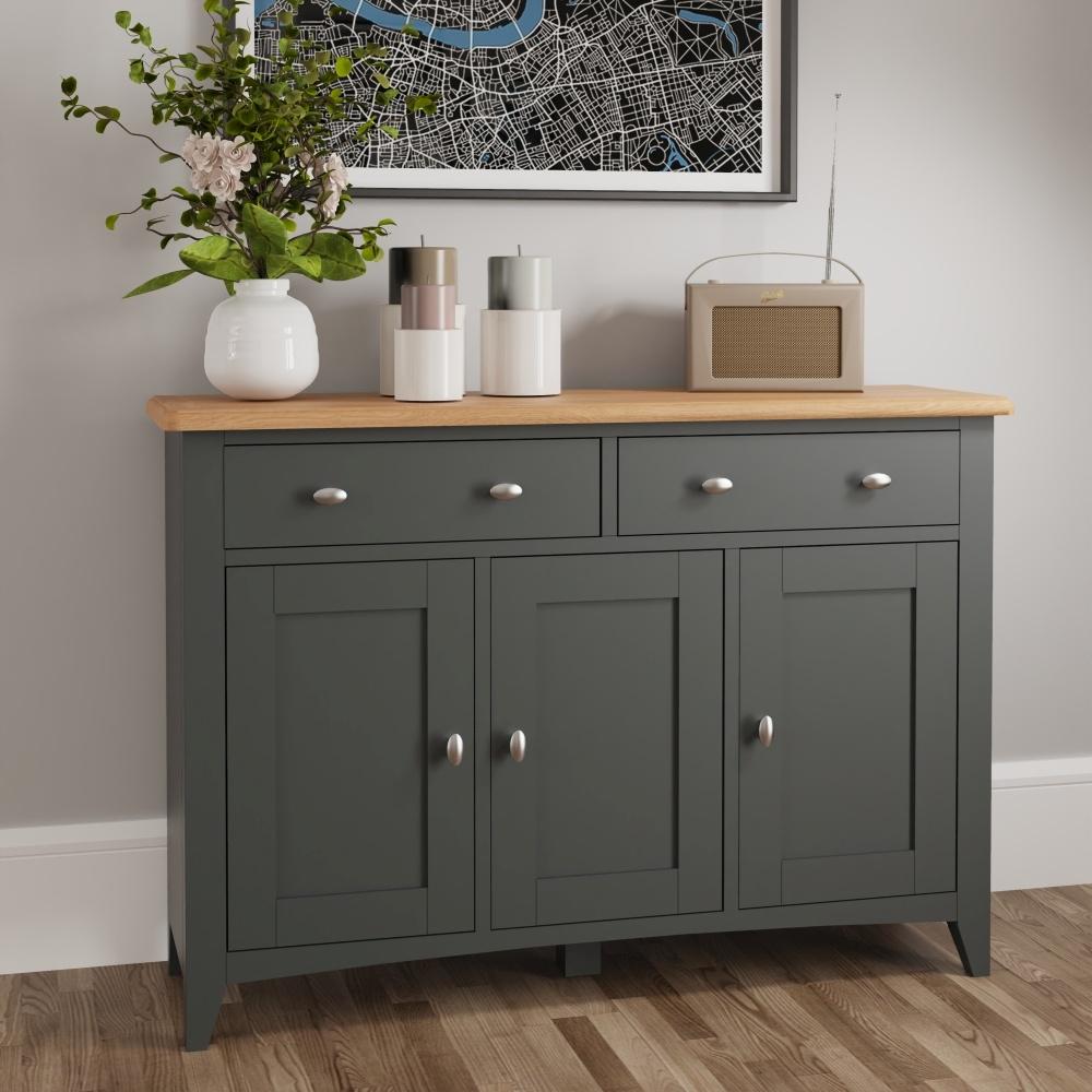 Graceton Oak and Grey Painted 3 Door 2 Drawer Sideboard