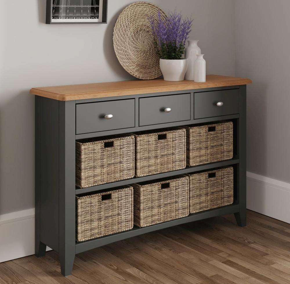 Graceton Oak and Grey Painted 3 Drawer 6 Basket Unit
