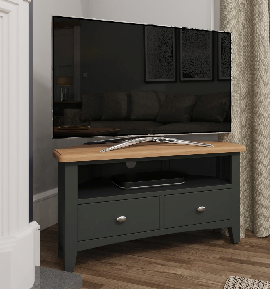 Graceton Oak and Grey Painted Corner TV Unit