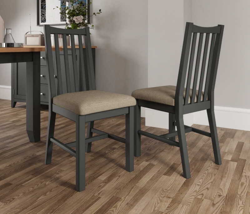 Graceton Grey Painted Slatted Back Dining Chair (Pair)