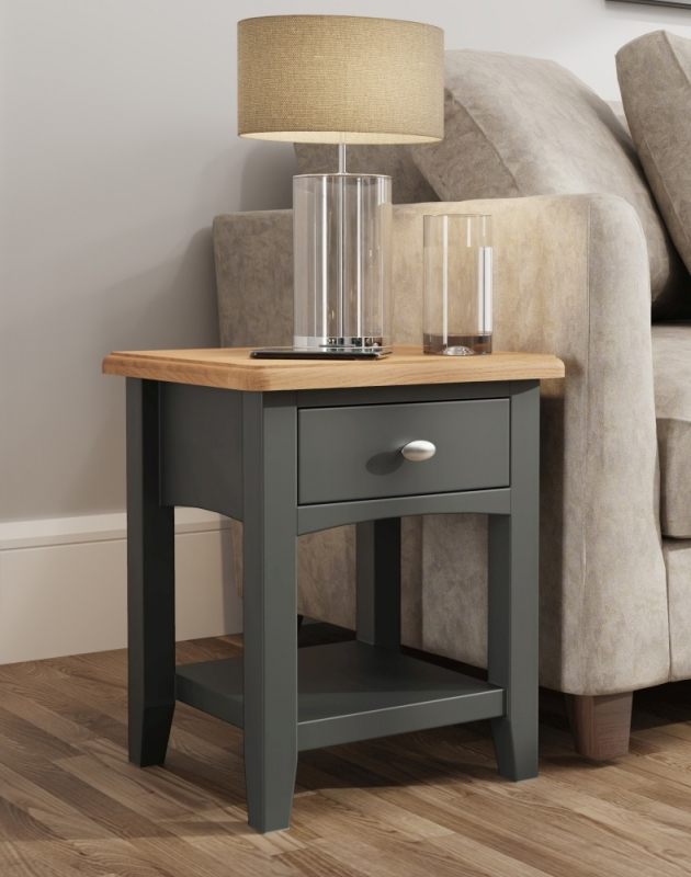 Graceton Oak and Grey Painted Lamp Table