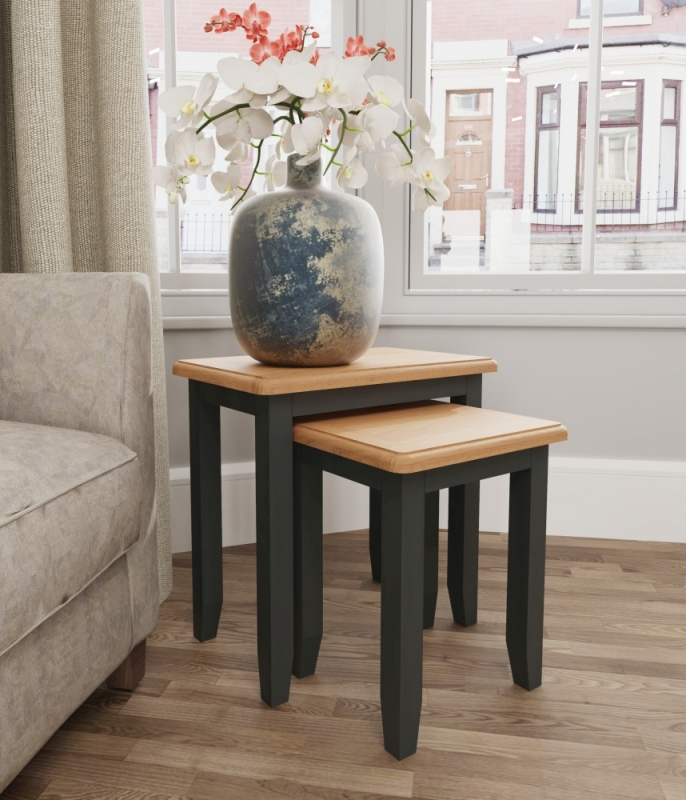 Graceton Oak and Grey Painted Nest of 2 Tables