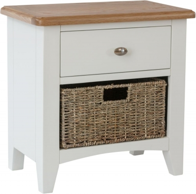 Graceton Oak and White Painted 1 Drawer 1 Basket Unit