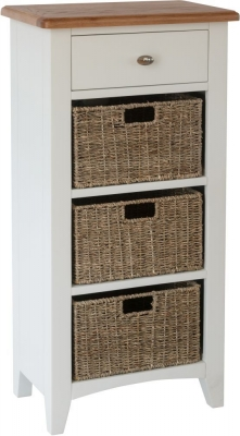 Graceton Oak and White Painted 1 Drawer 3 Basket Unit