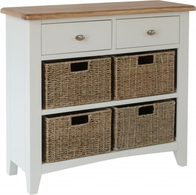 Graceton Oak and White Painted 2 Drawer 4 Basket Unit