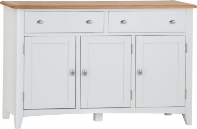 Graceton Oak and White Painted 3 Door 2 Drawer Sideboard