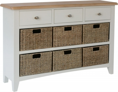 Graceton Oak and White Painted 3 Drawer 6 Basket Unit