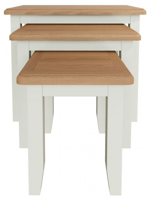 Graceton Oak and White Painted Nest of 3 Tables