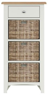 Graceton Oak and White Painted 1 Drawer 3 Basket Unit