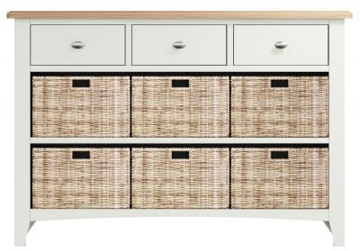 Graceton Oak and White Painted 3 Drawer 6 Basket Unit