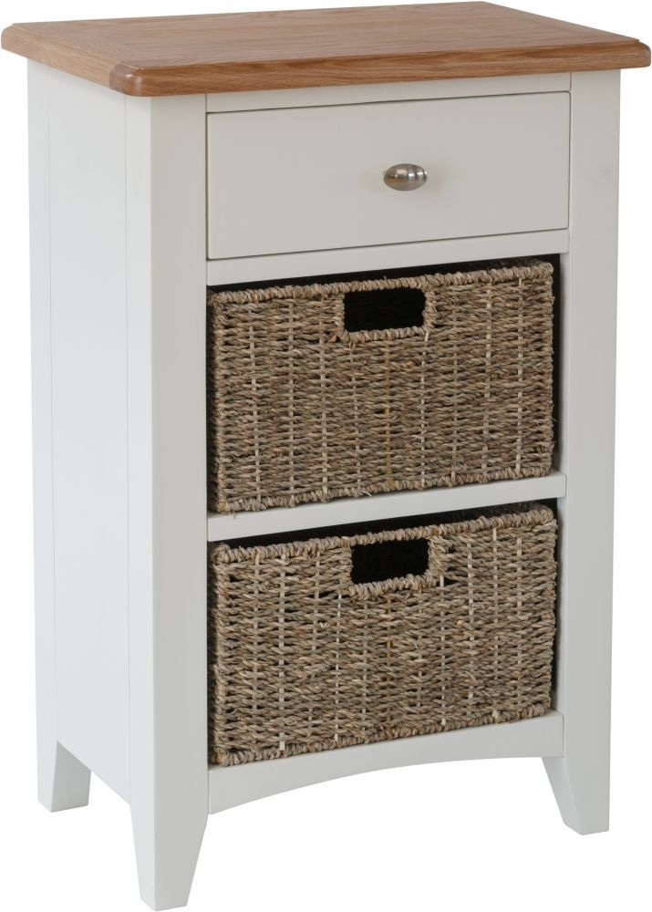Graceton Oak and White Painted 1 Drawer 2 Basket Unit