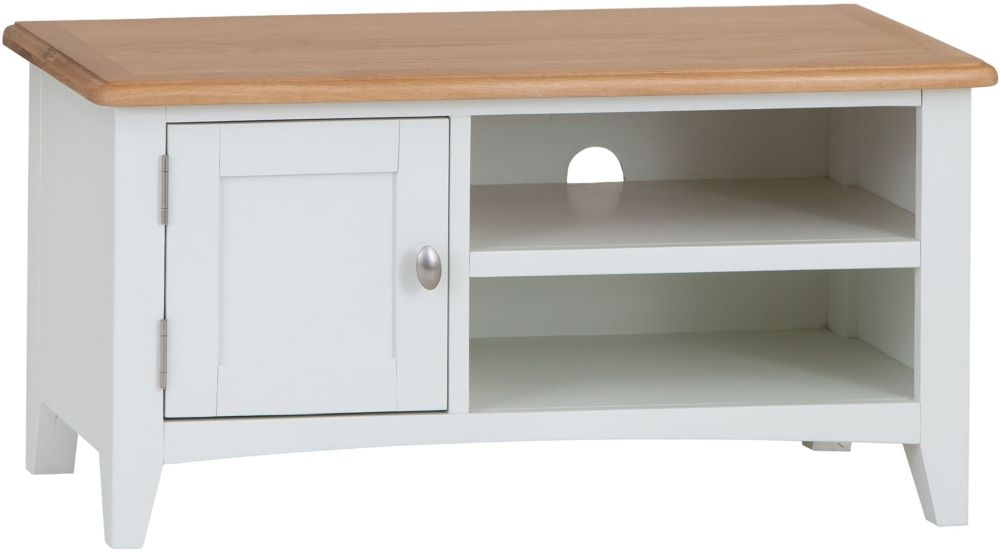 Graceton Oak and White Painted TV Unit