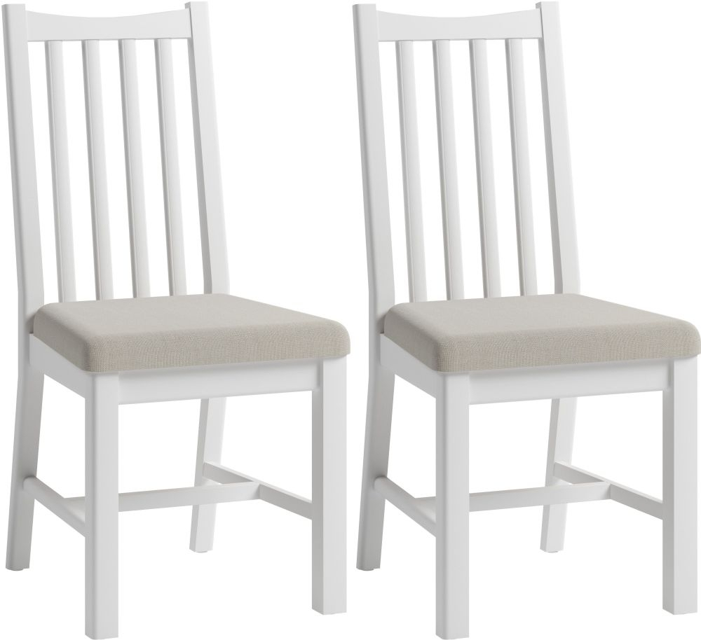 Graceton White Painted Slatted Back Dining Chair (Pair)