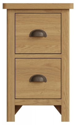 Hampton Rustic Oak 2 Drawer Bedside Cabinet